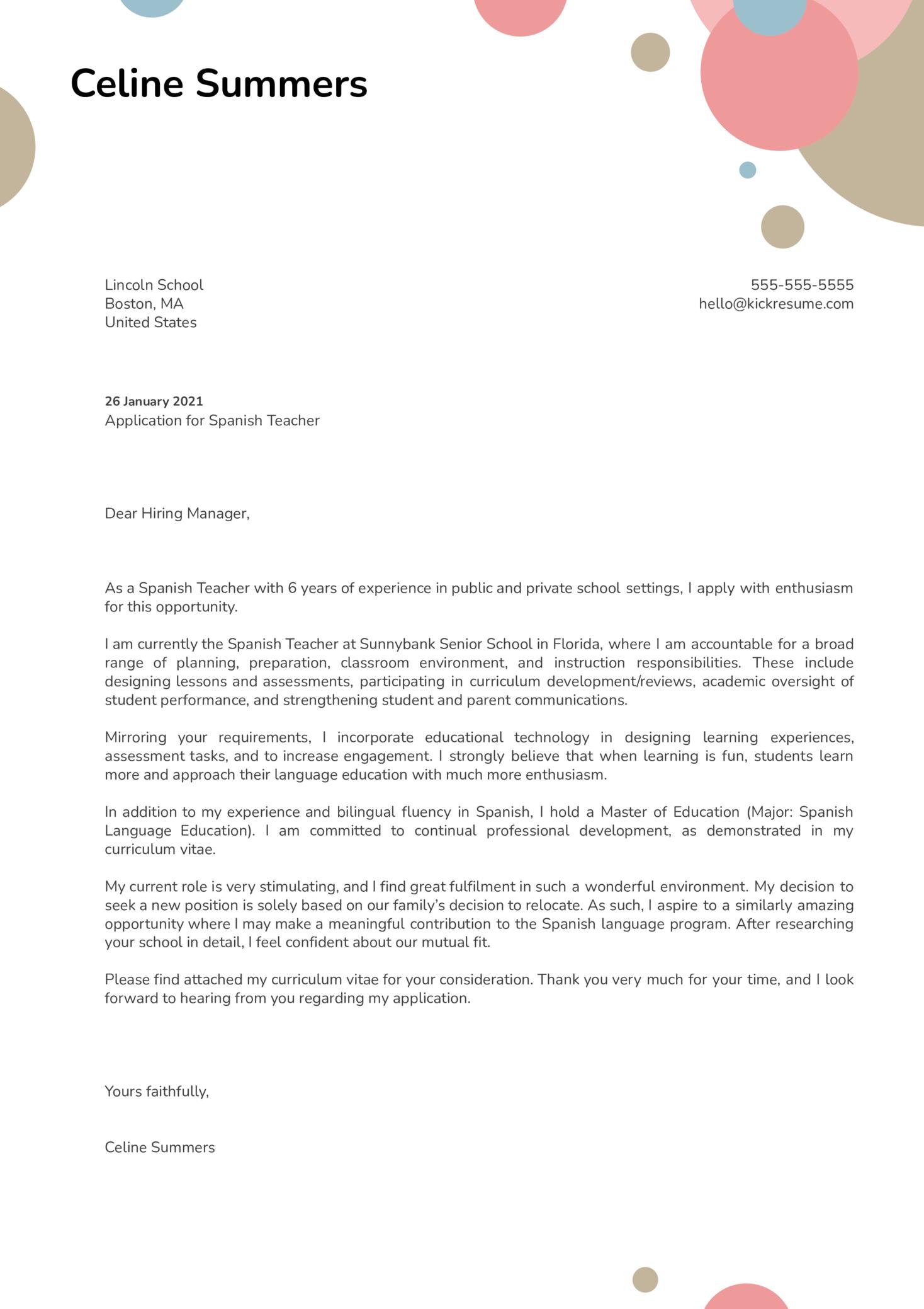 Spanish Teacher Cover Letter Template