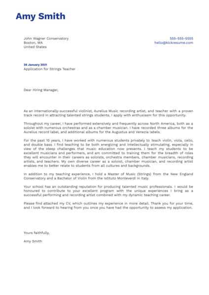 Strings Teacher Cover Letter Example