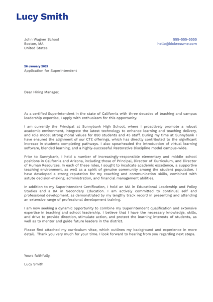 Superintendent Cover Letter Template
