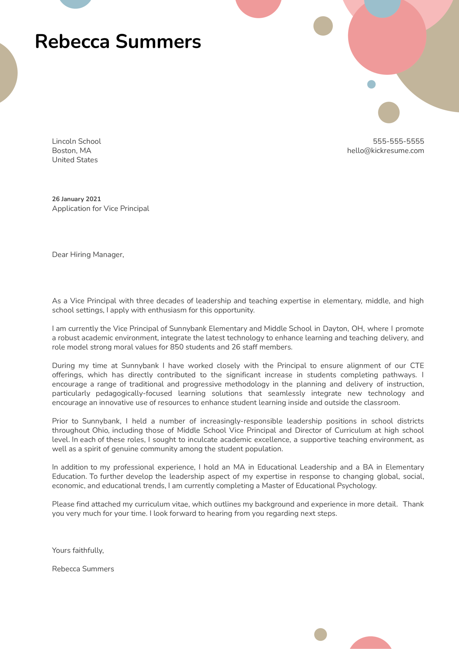 Vice Principal Cover Letter Example