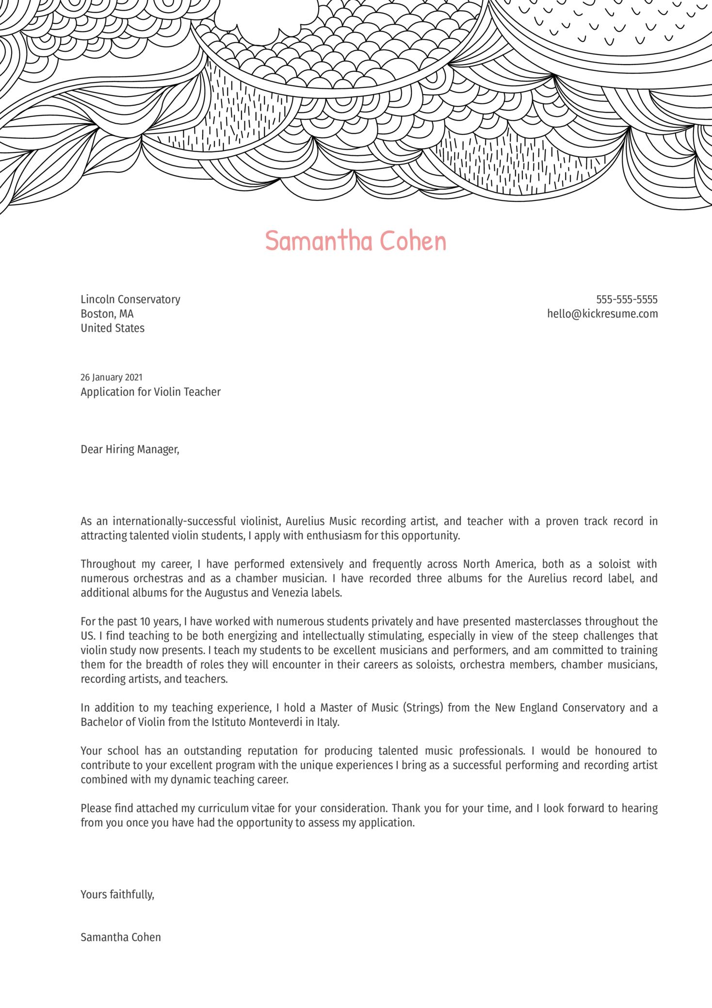 Violin Teacher Cover Letter Example