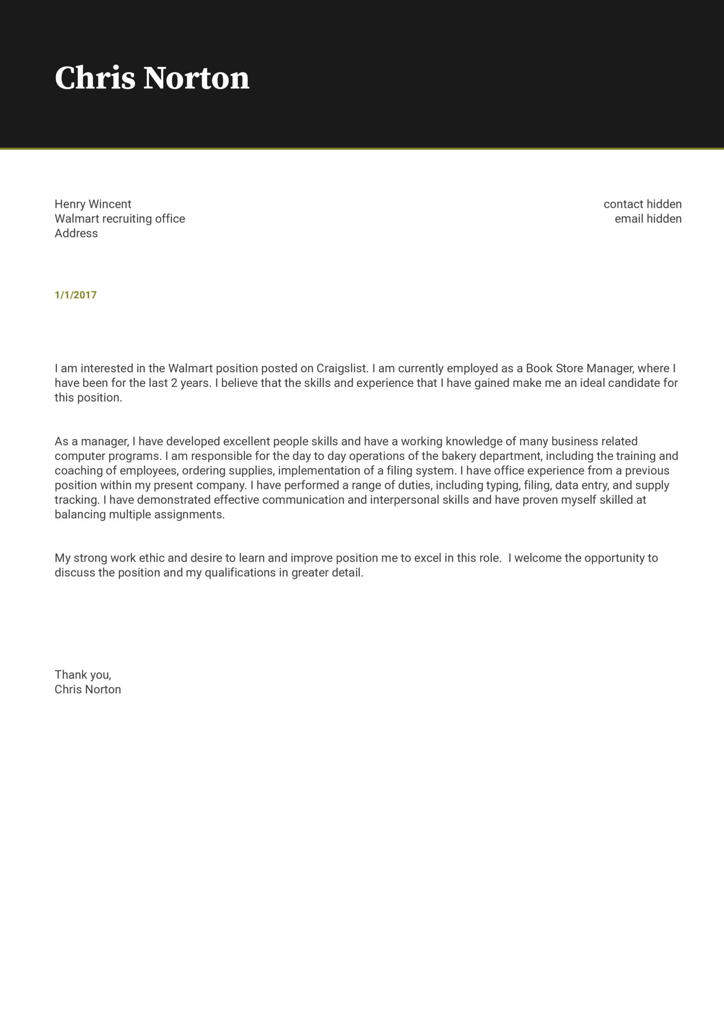 Walmart Store Manager Cover Letter Sample