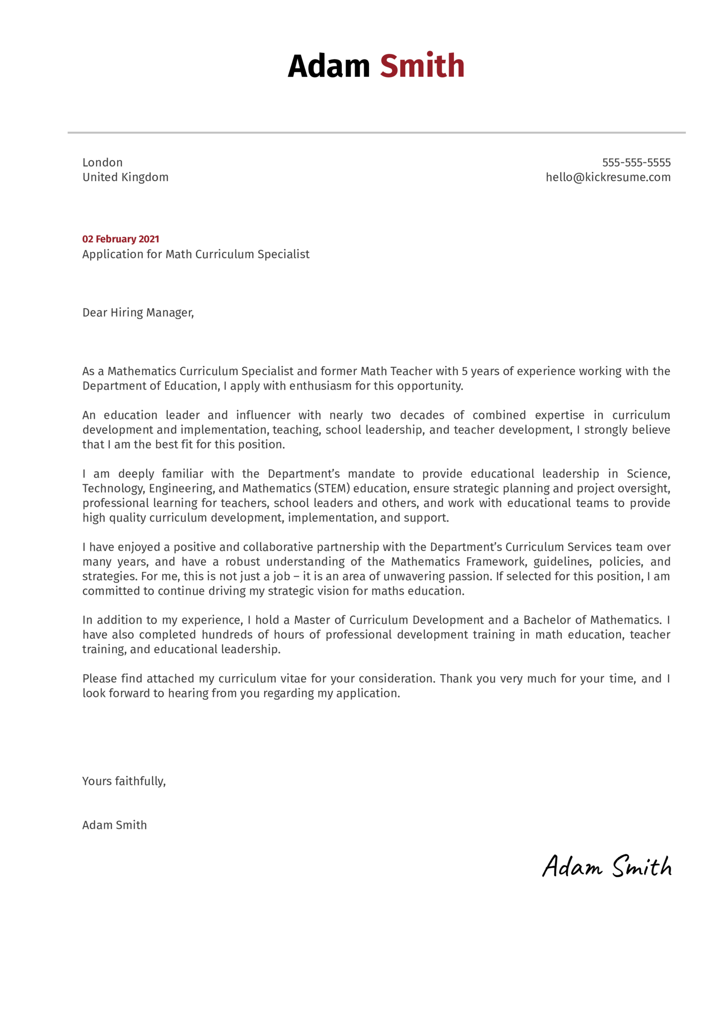 Math Curriculum Specialist Cover Letter Template
