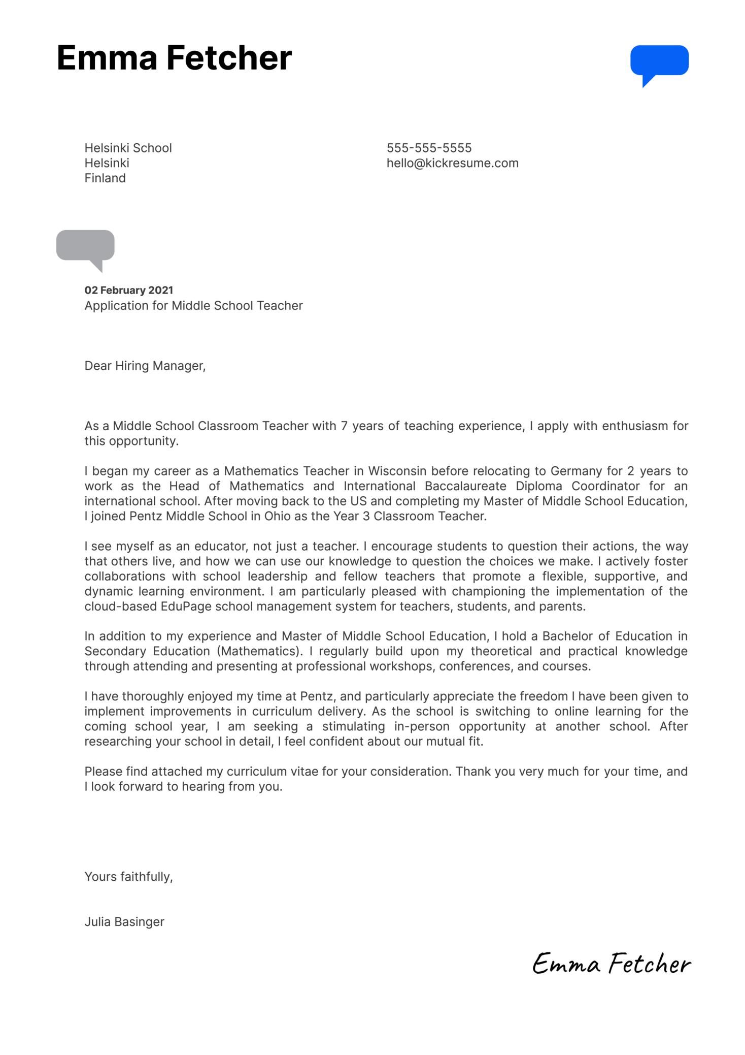 Middle School Teacher Cover Letter Sample