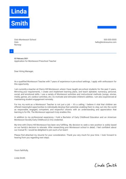 Montessori Preschool Teacher Cover Letter Template