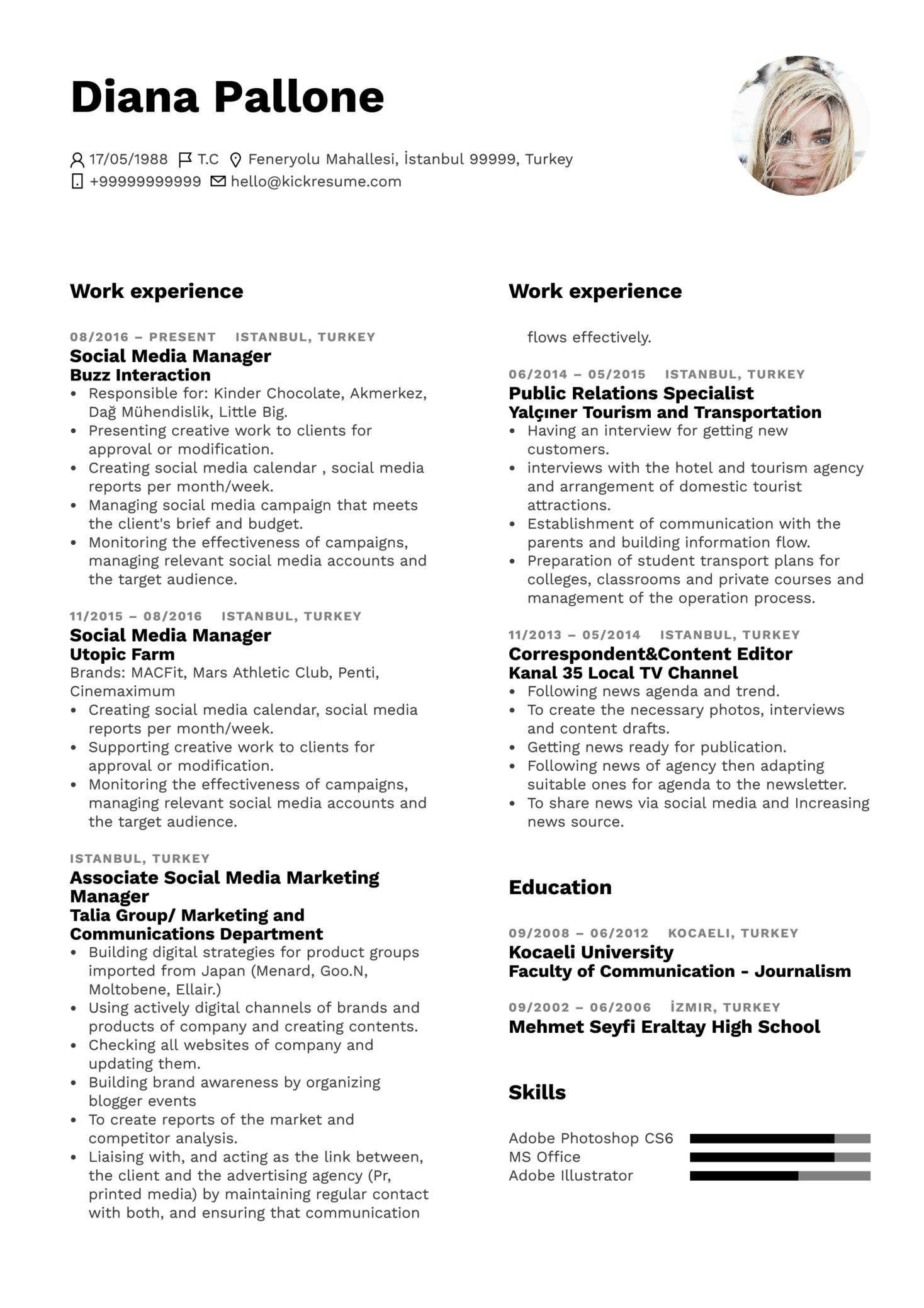 L'Oréal Social Media Manager Resume Sample (Part 1)