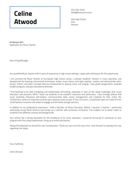 Music Teacher Cover Letter Template