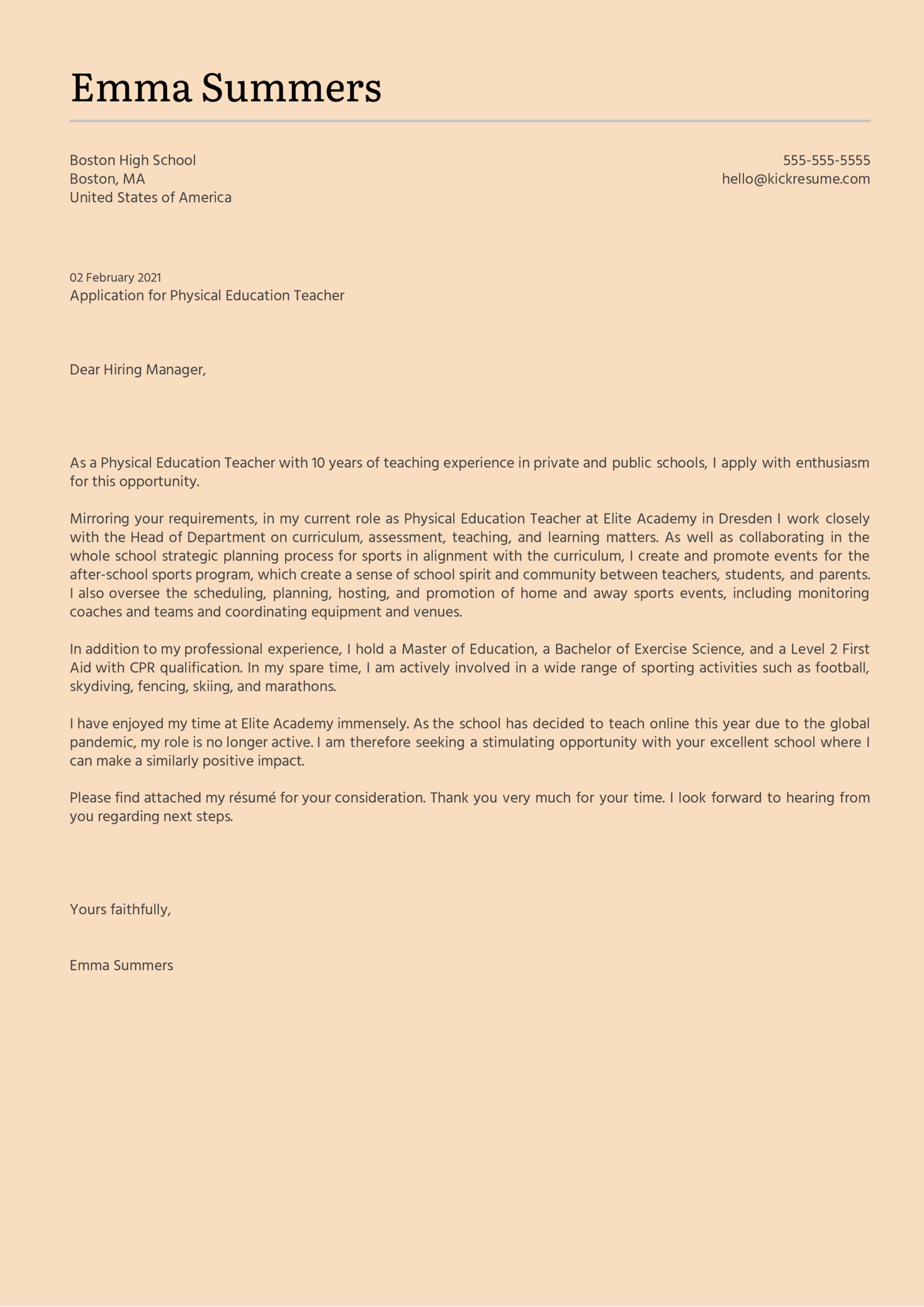 Physical Education Teacher Cover Letter Example