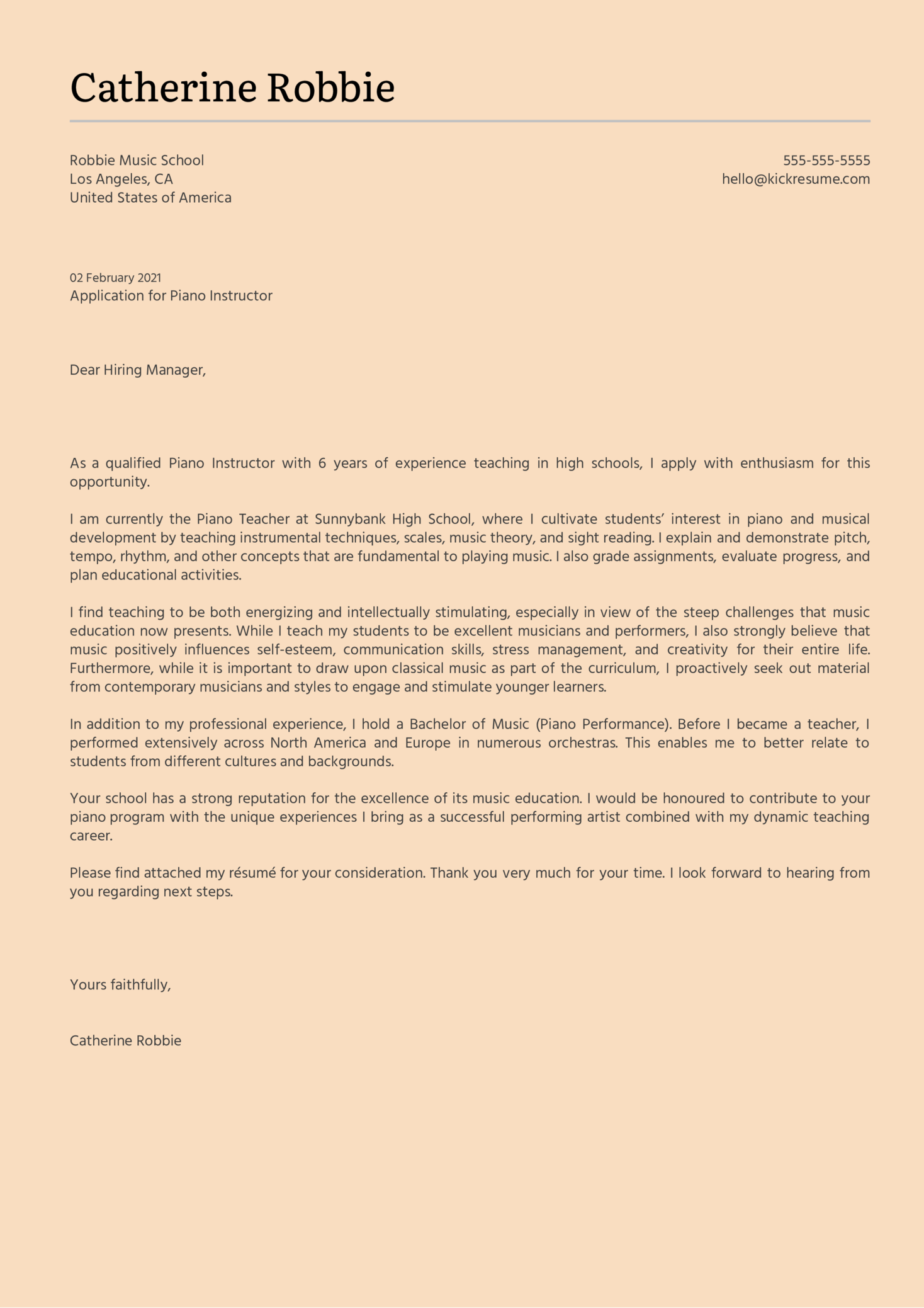Piano Instructor Cover Letter Example