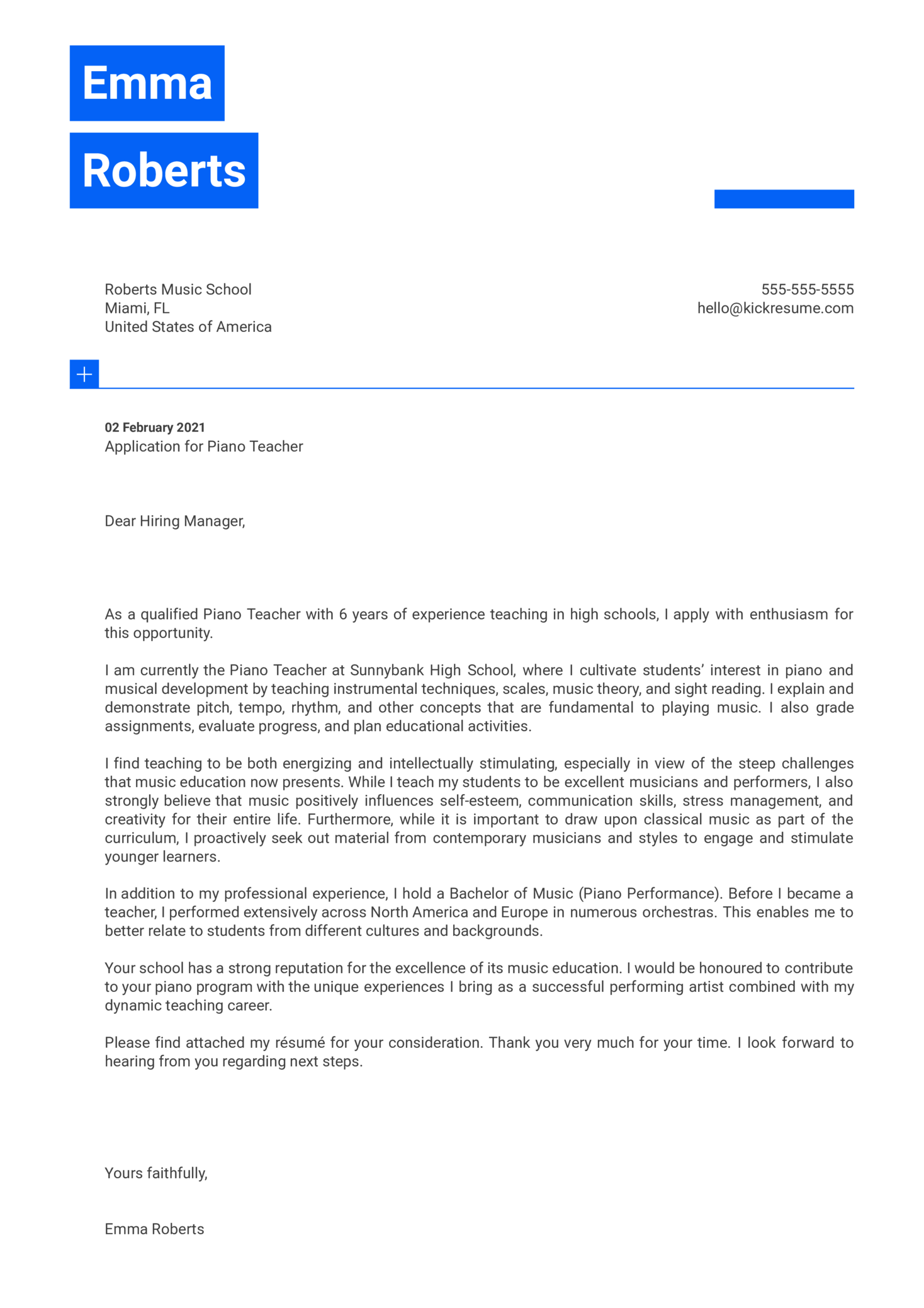Piano Teacher Cover Letter Template