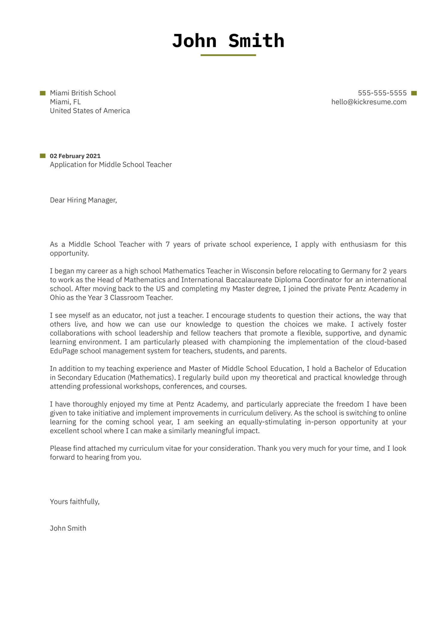 Private School Teacher Cover Letter Example