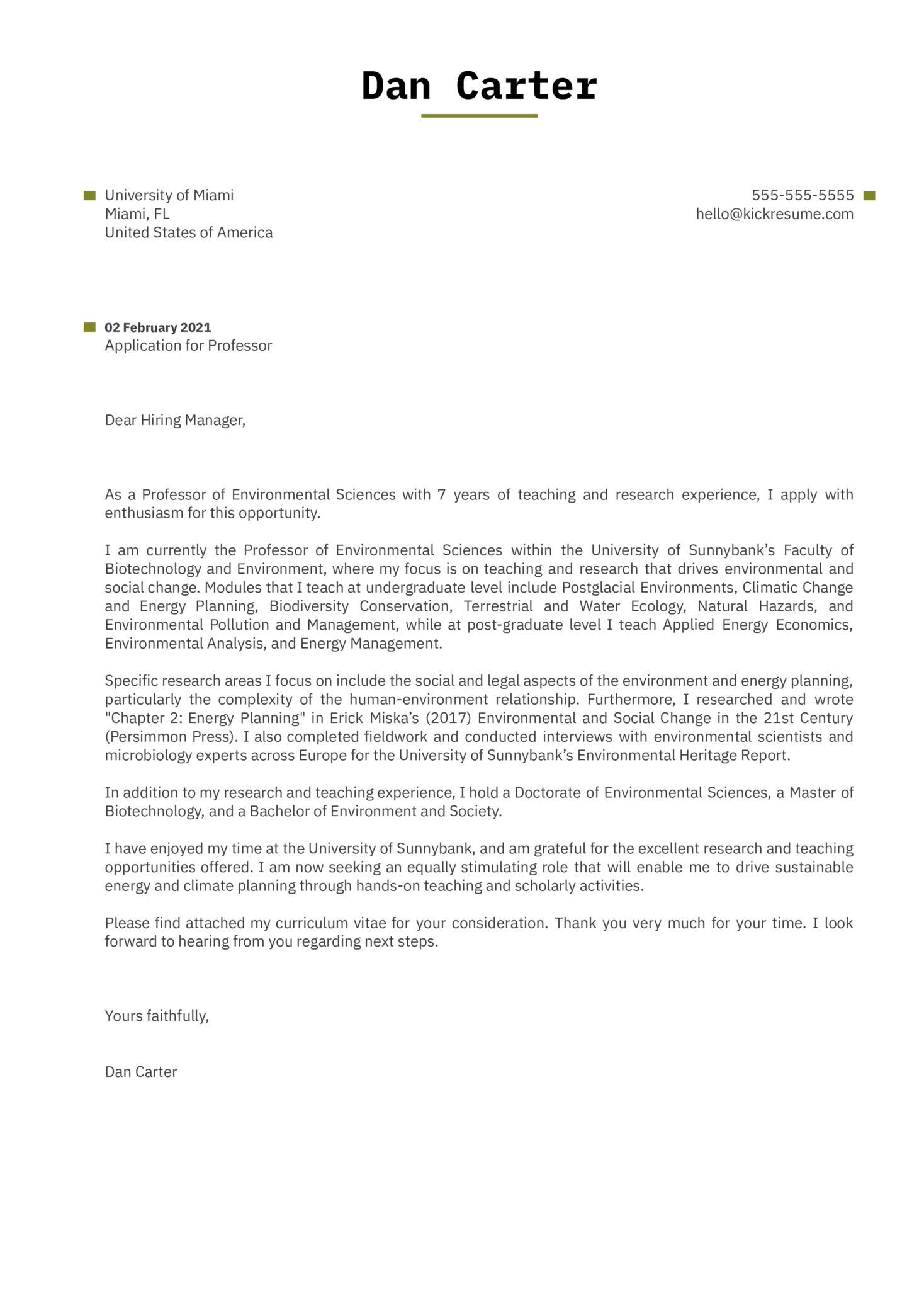 Professor Cover Letter Template