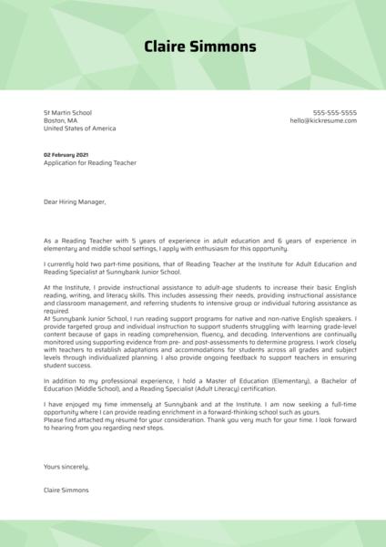 Reading Teacher Cover Letter Example