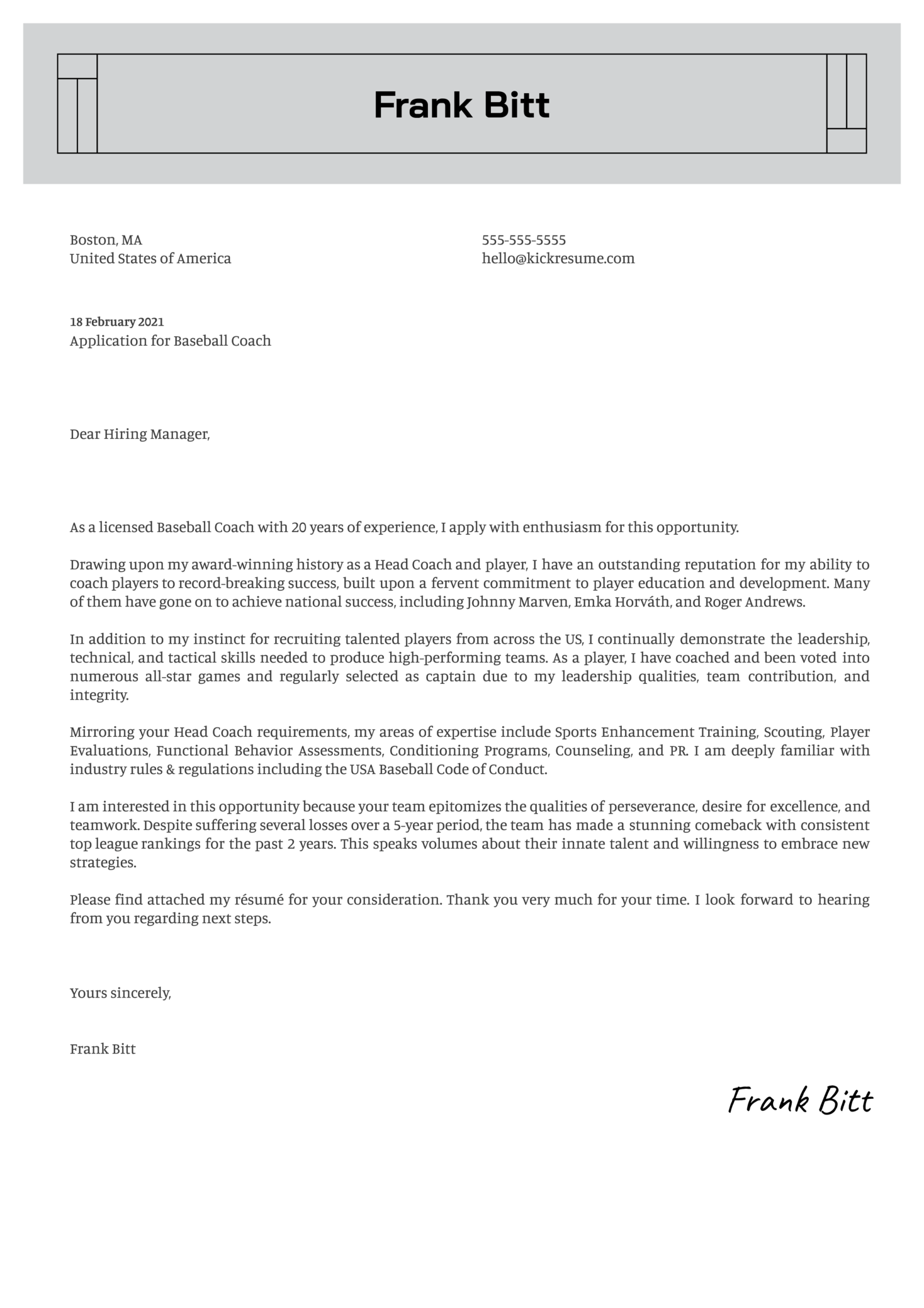 Head Coach Cover Letter Template