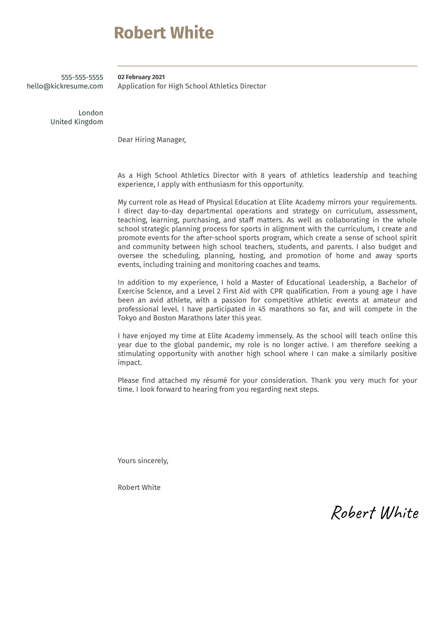 High School Athletics Director Cover Letter Sample
