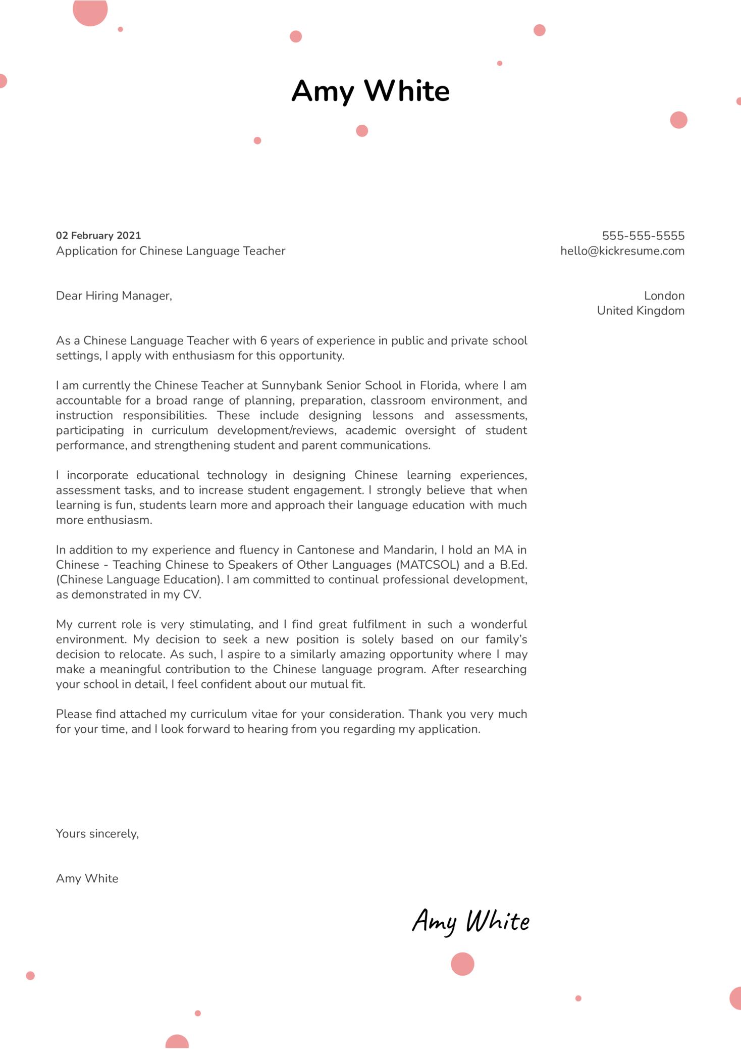High School Chinese Teacher Cover Letter Sample