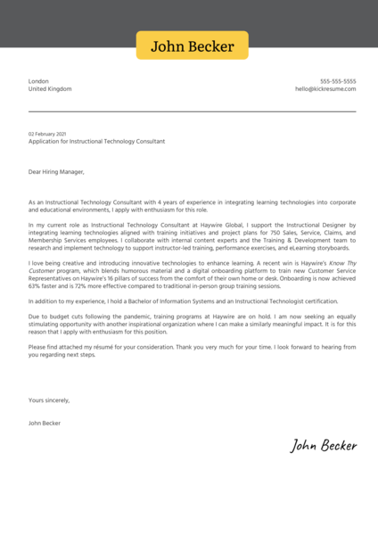 Instructional Technology Consultant Cover Letter Sample