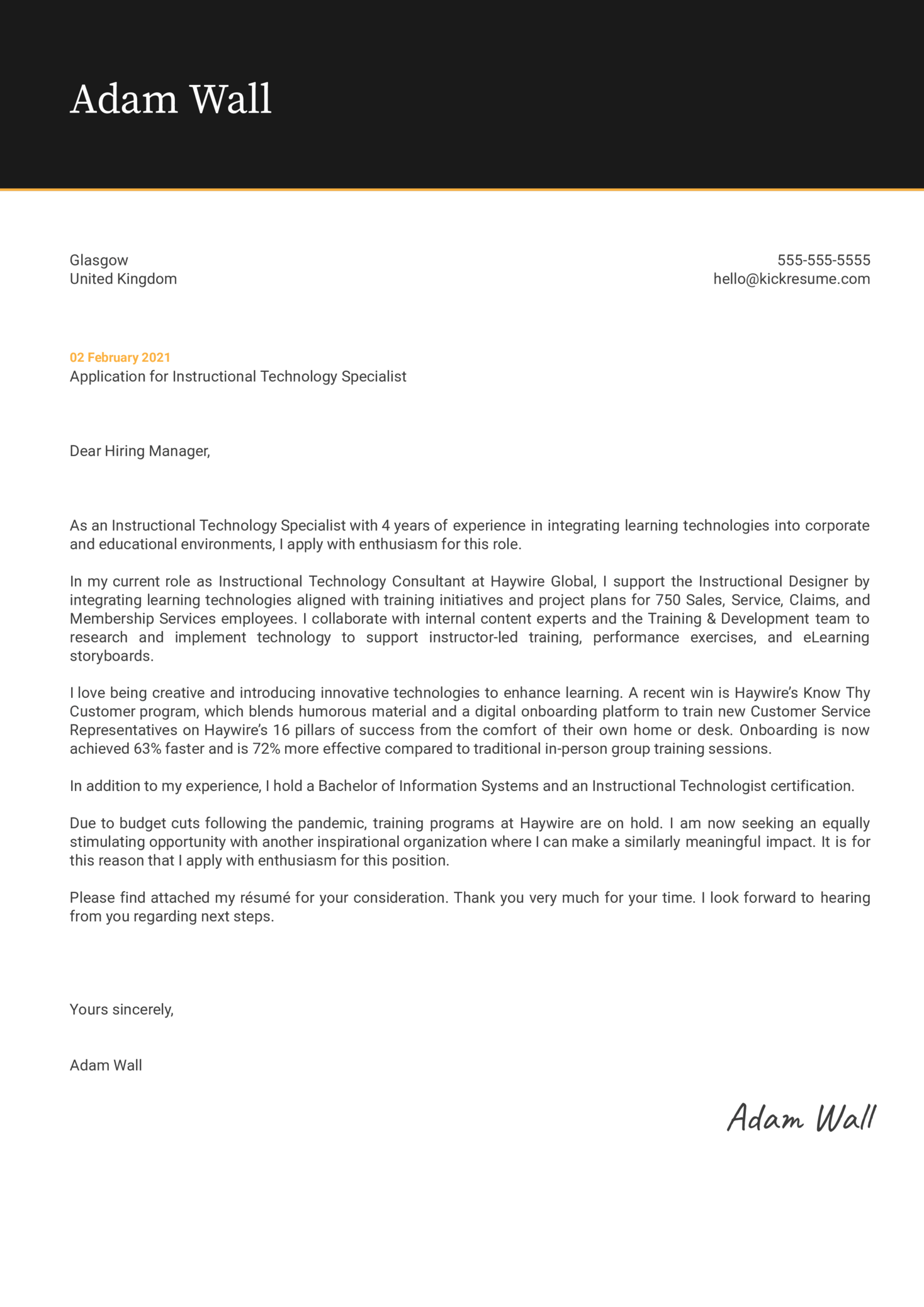 Instructional Technology Specialist Cover Letter Template