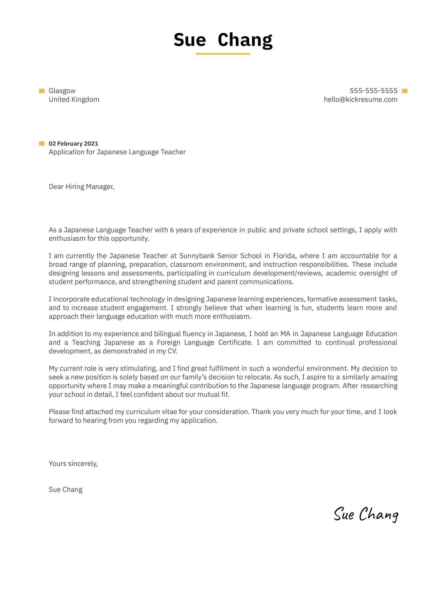 Japanese Language Teacher Cover Letter Example