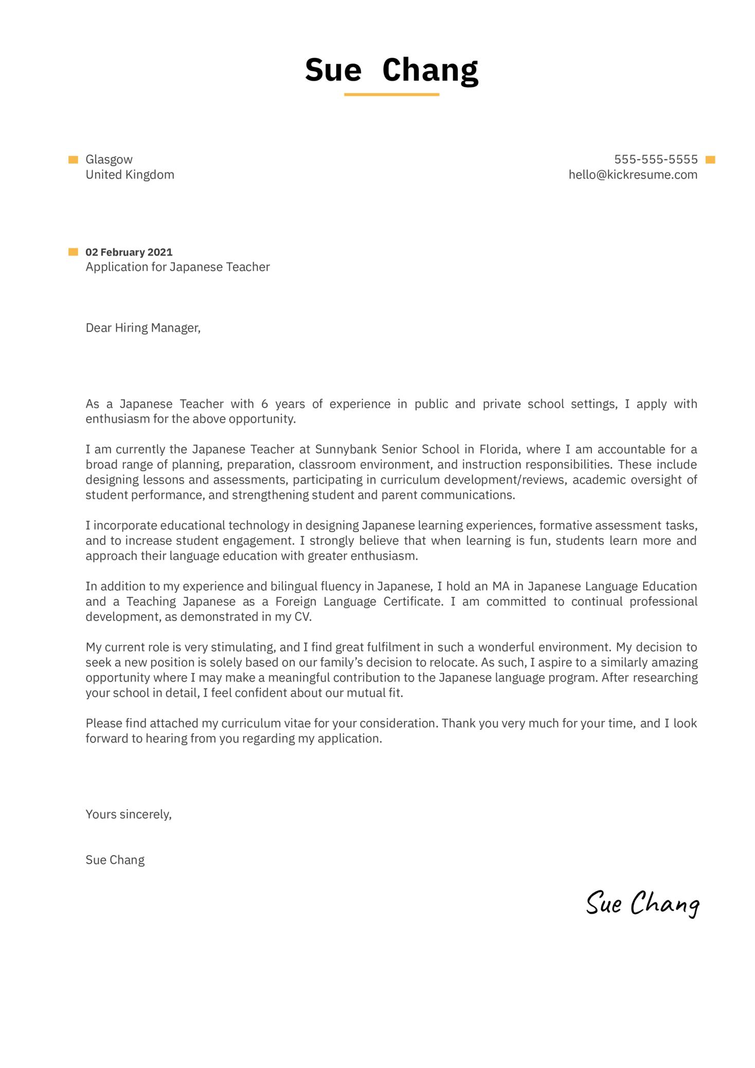 Japanese Teacher Cover Letter Sample