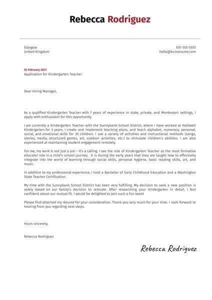 Kindergarten Teacher Cover Letter Sample