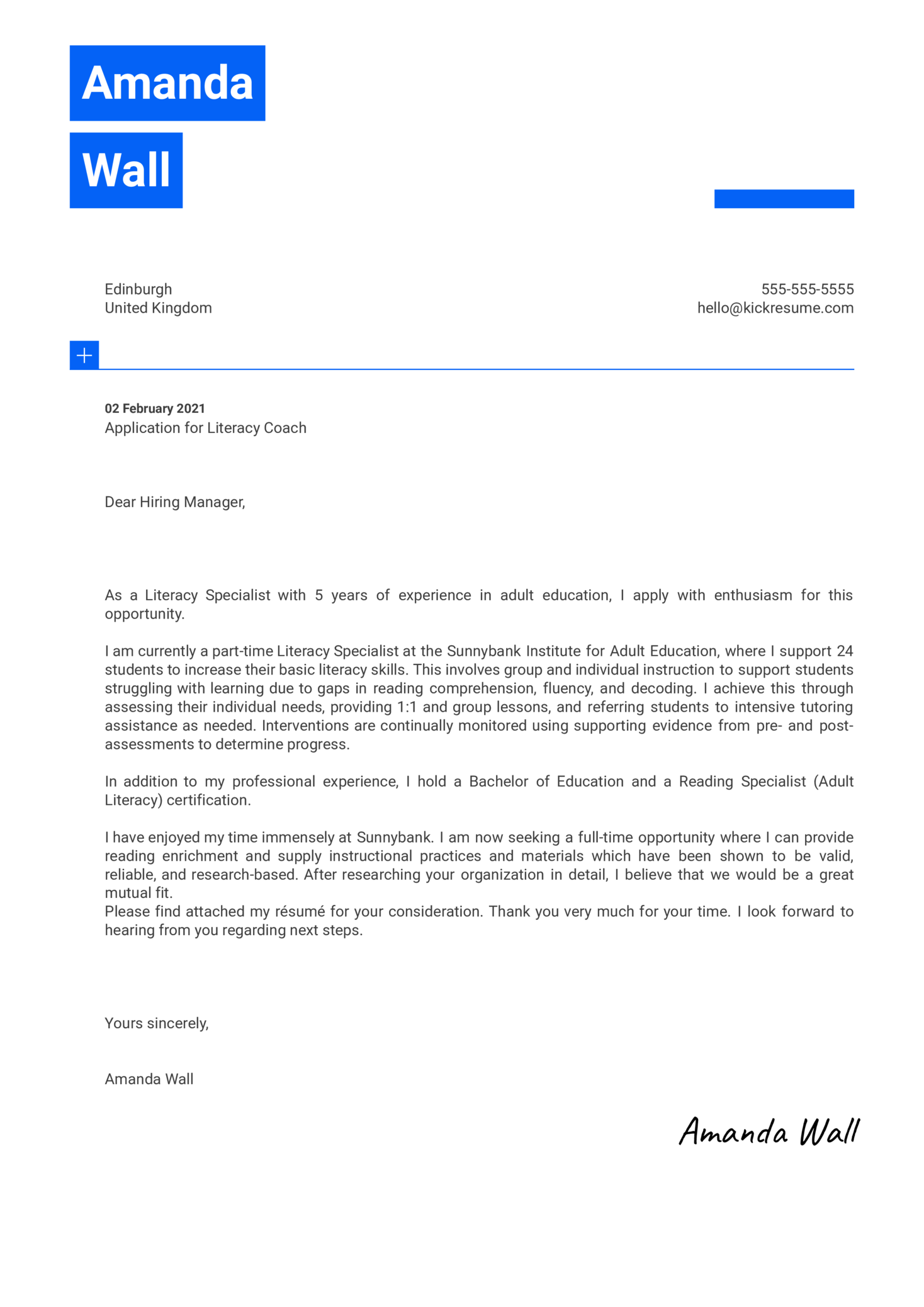 Literacy Coach Cover Letter Template