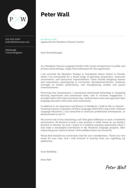 Mandarin Chinese Teacher Cover Letter Example