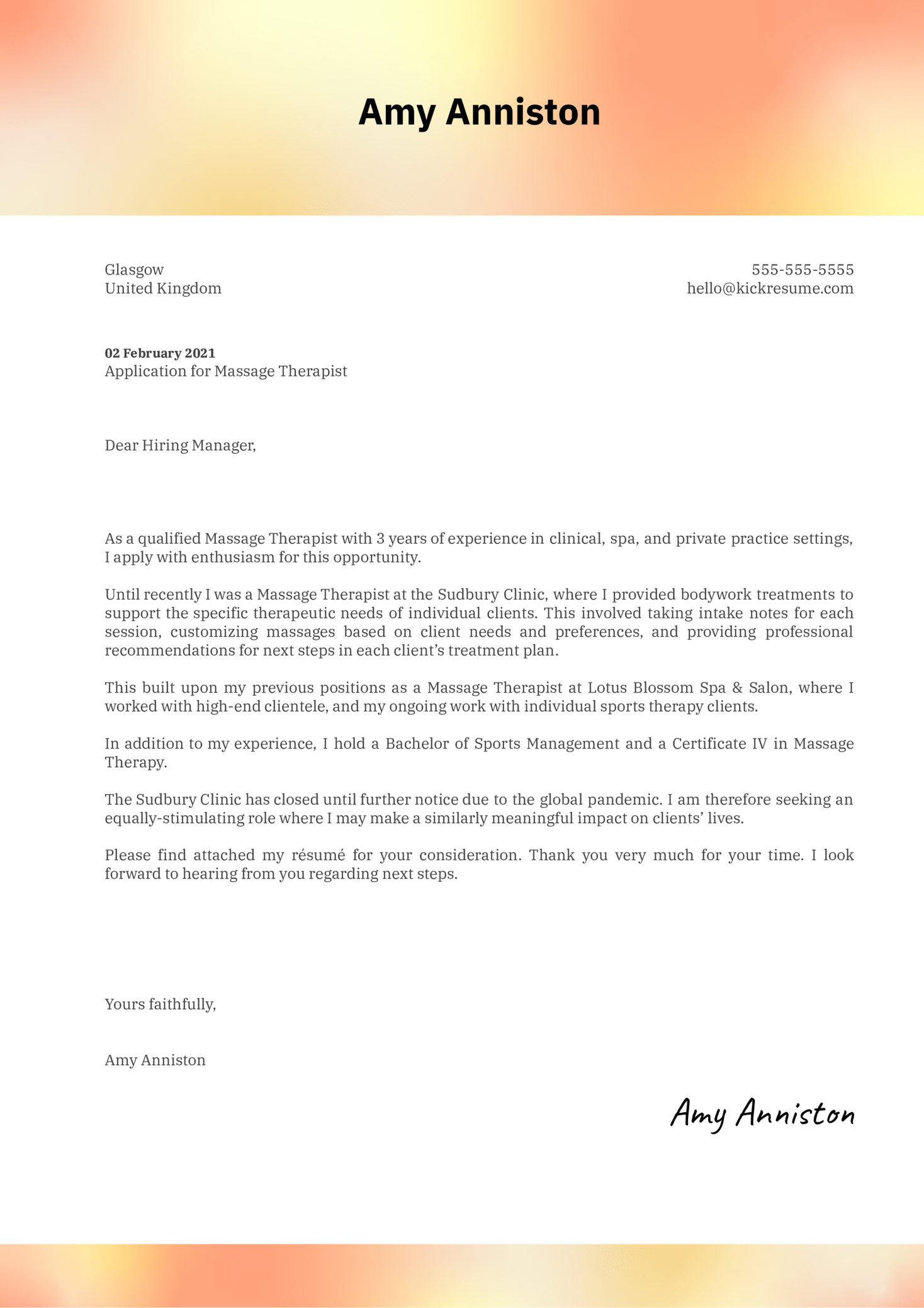 Massage Therapy Cover Letter Example