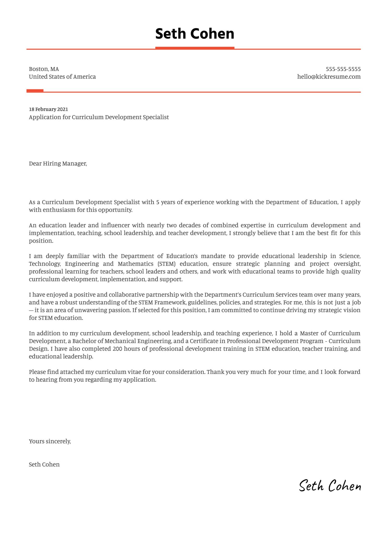 Curriculum Development Specialist Cover Letter Template
