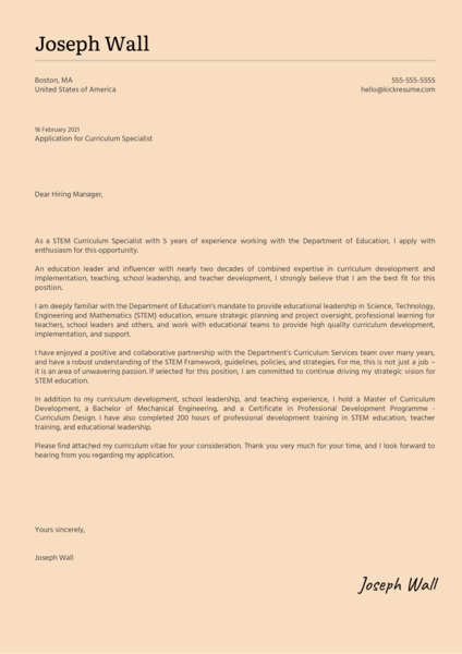 Curriculum Specialist Cover Letter Sample