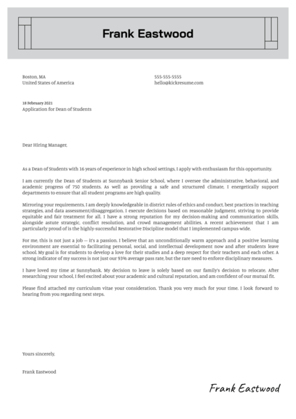 Dean of Students Cover Letter Sample
