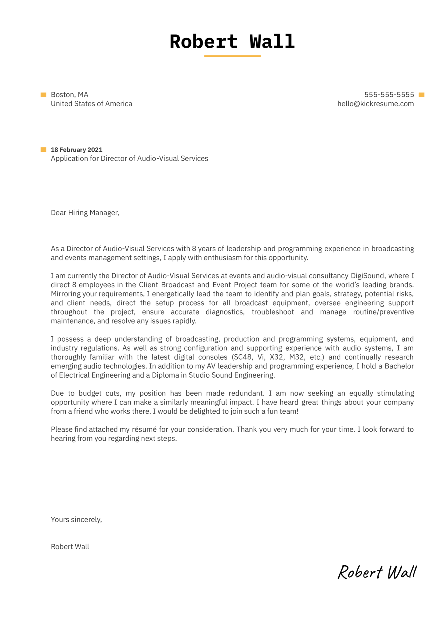 Director of Audio-Visual Services Cover Letter Sample