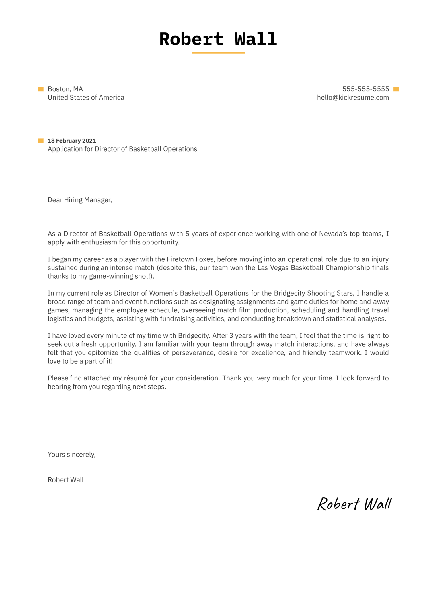 Director of Basketball Operations Cover Letter Template