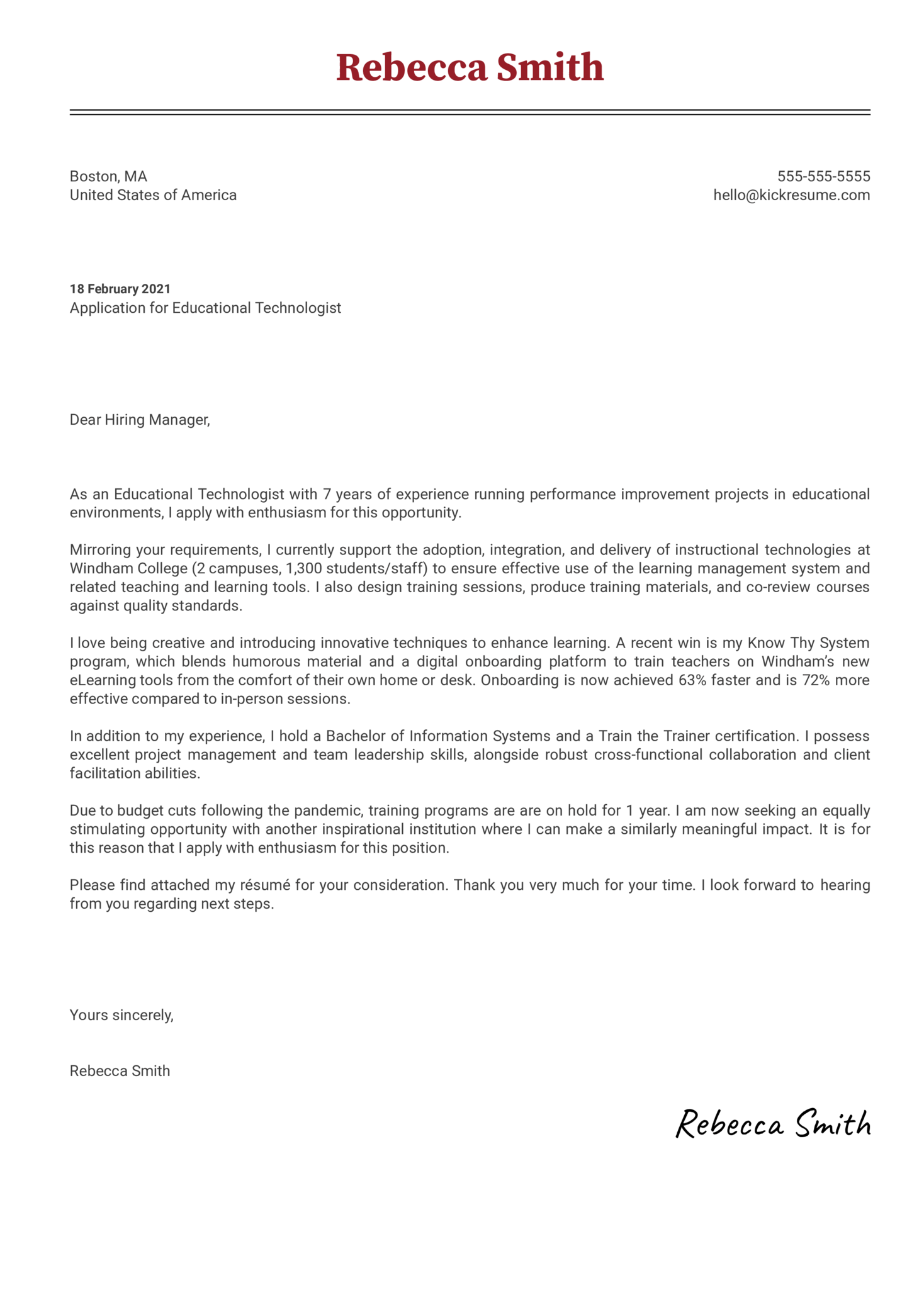 Educational Technologist Cover Letter Example