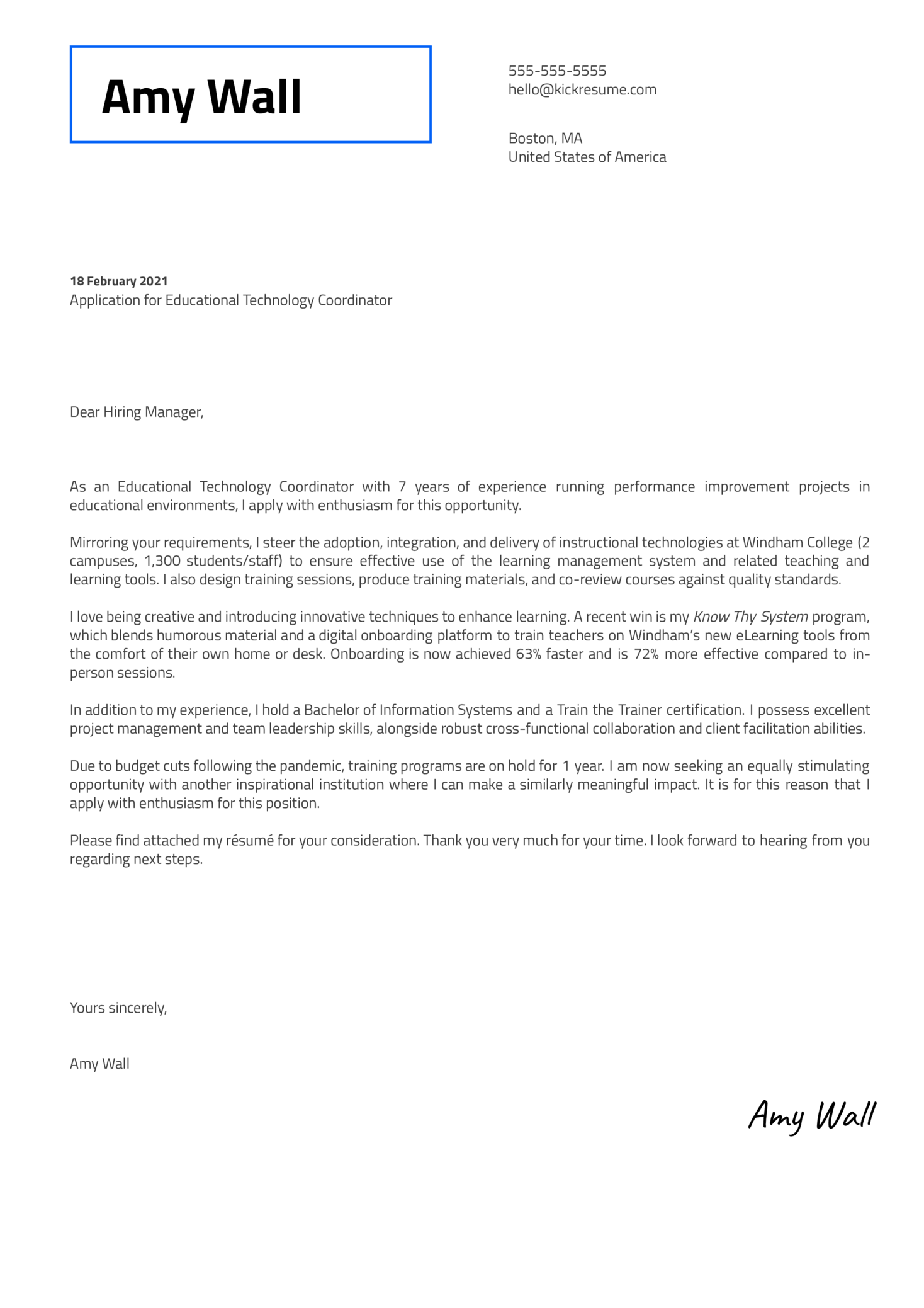 Educational Technology Coordinator Cover Letter Sample