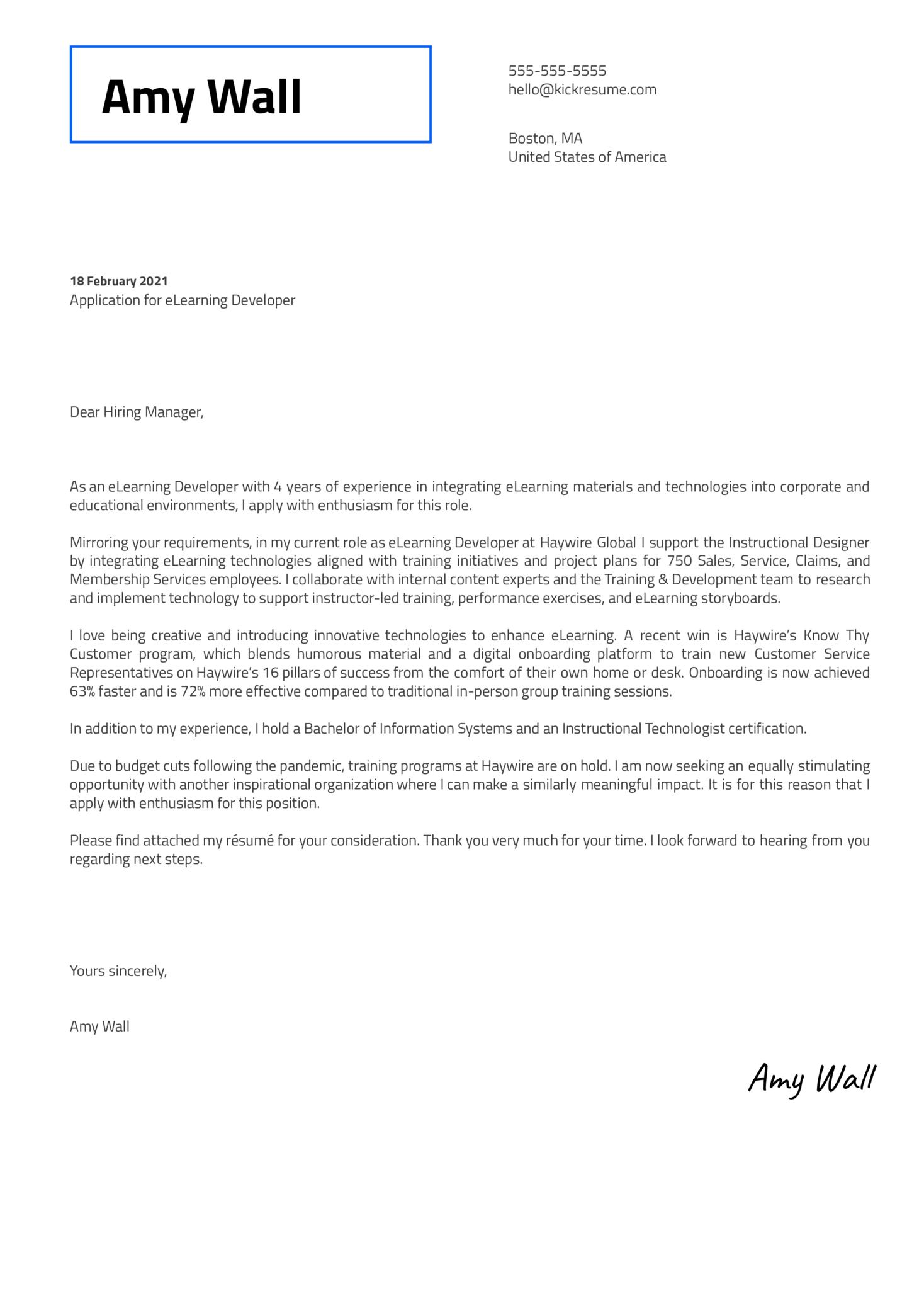 eLearning Developer Cover Letter Template