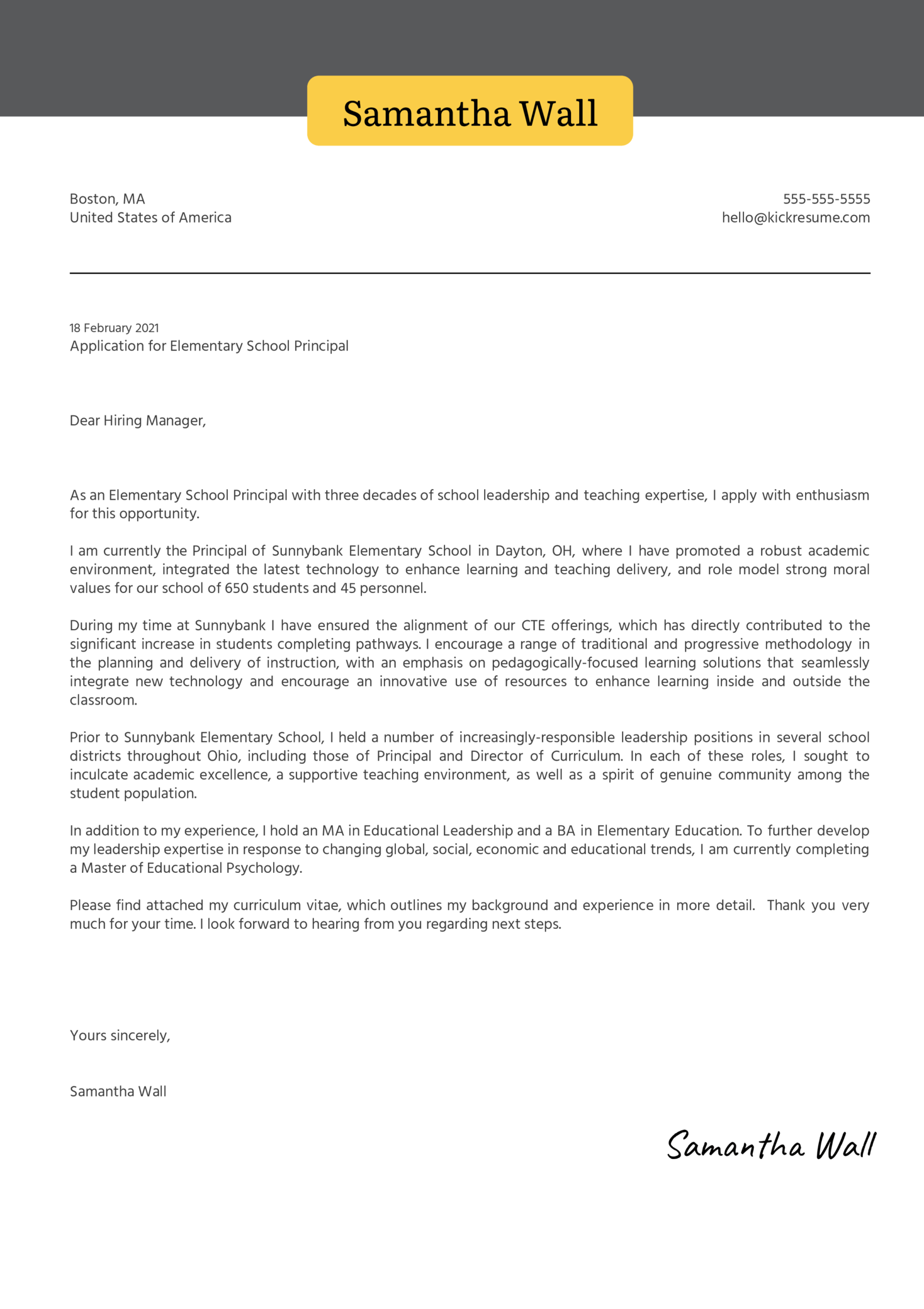 Elementary School Principal Cover Letter Sample