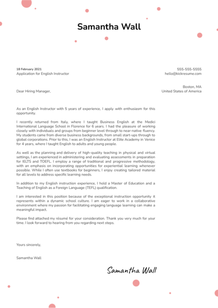 English Instructor Cover Letter Template