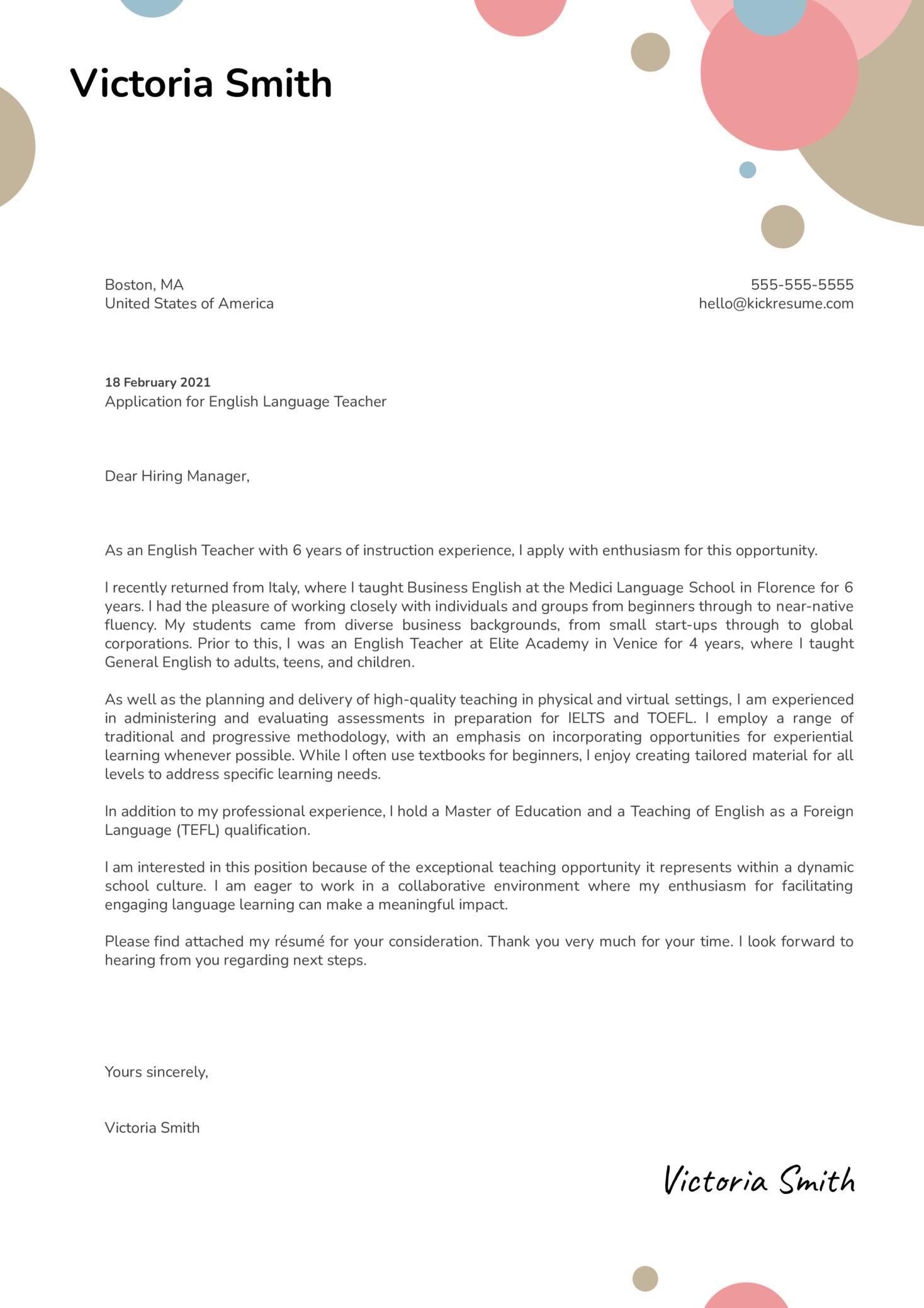 English Language Teacher Cover Letter Sample
