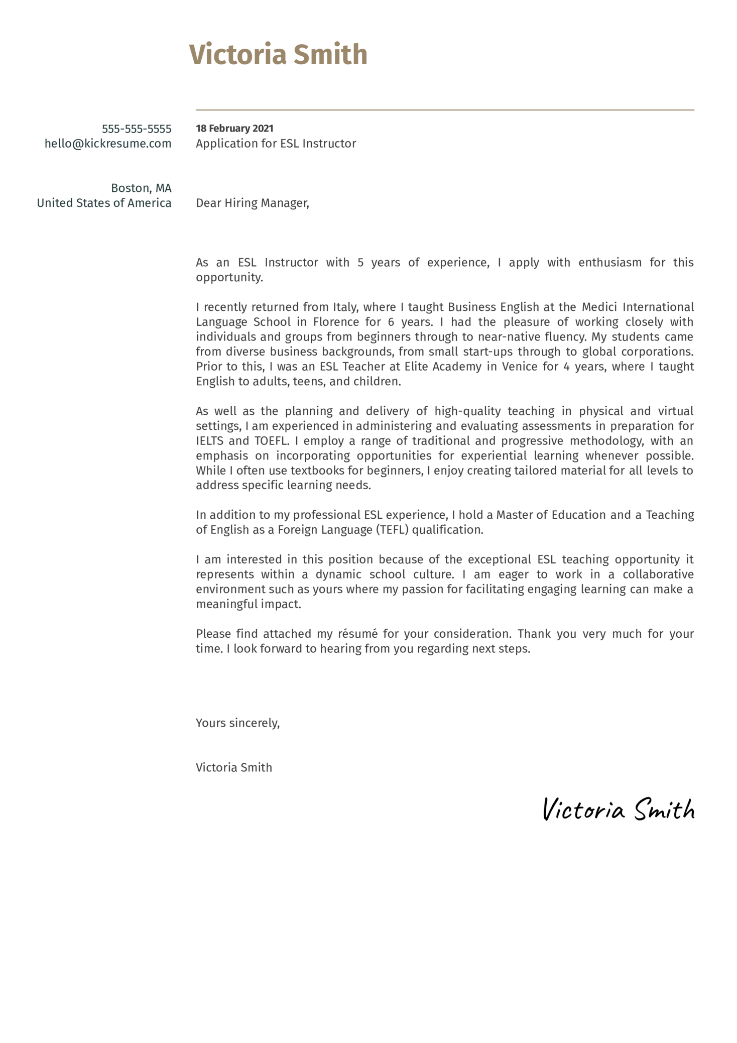 ESL Instructor Cover Letter Example