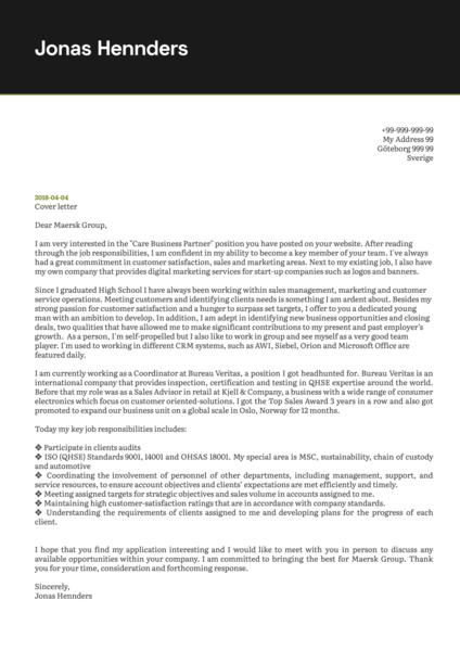Maersk Business Partner Cover Letter Example