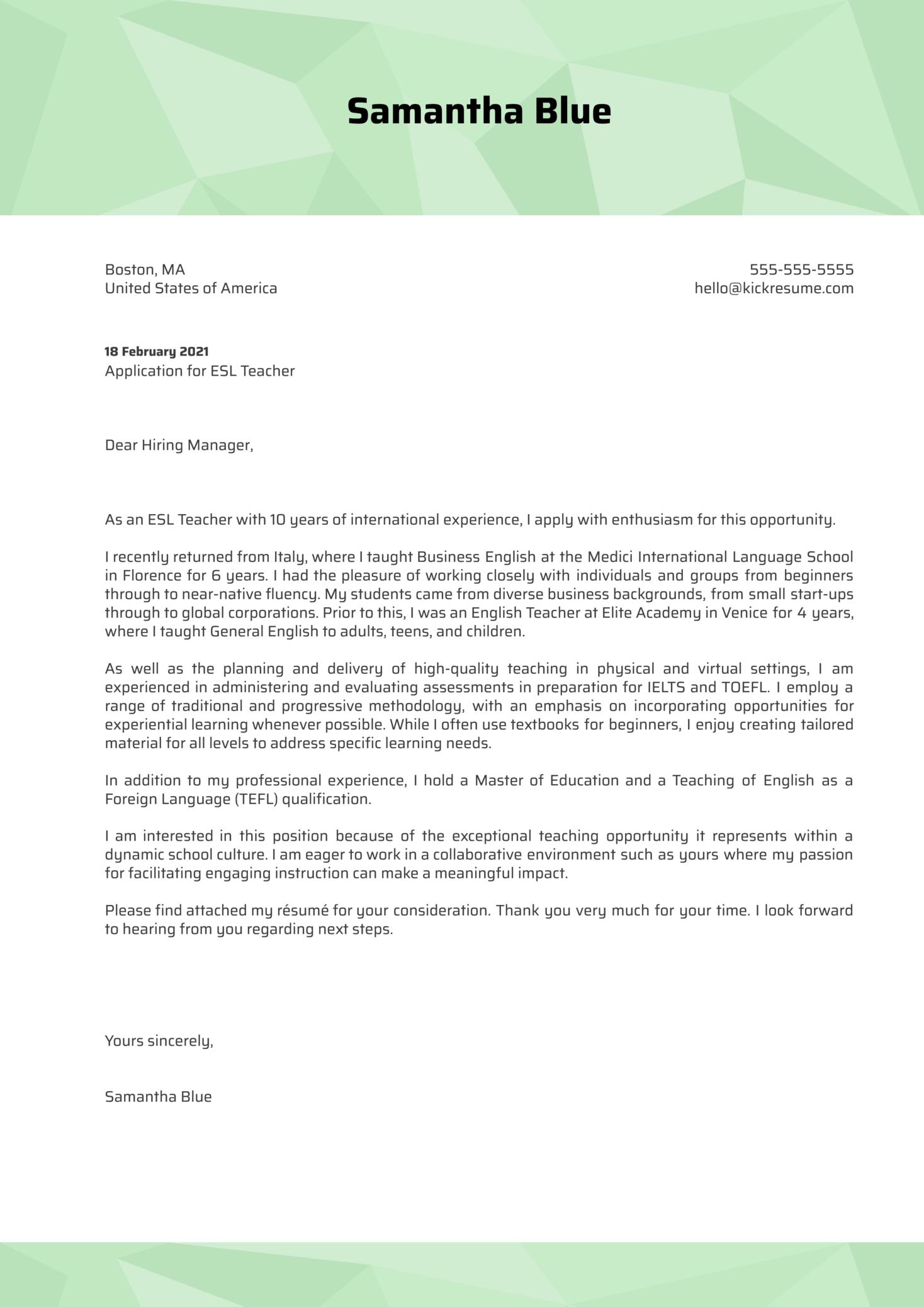 ESL Teacher Cover Letter Template (parte 1)