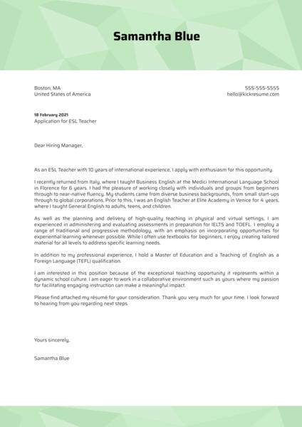 ESL Teacher Cover Letter Template