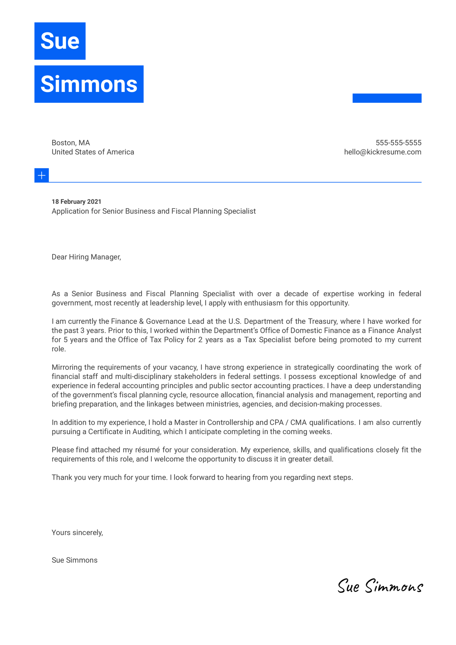 Federal Cover Letter Example