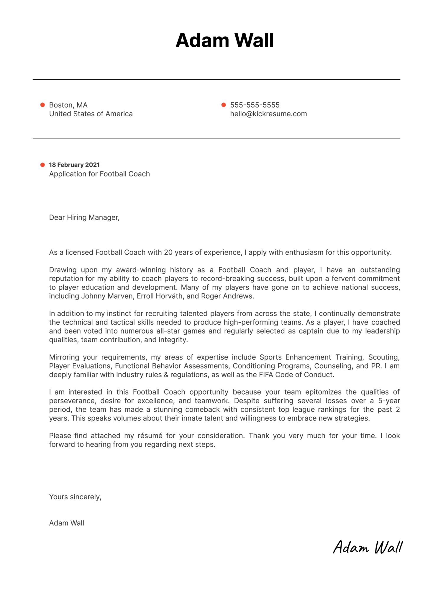 Football Coach Cover Letter Sample