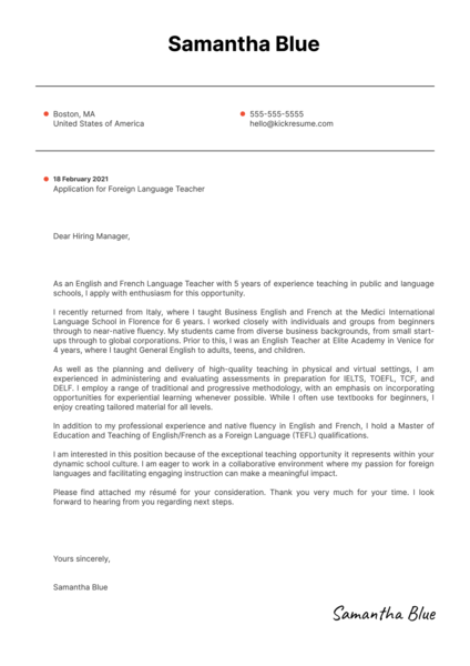 Foreign Language Teacher Cover Letter Example