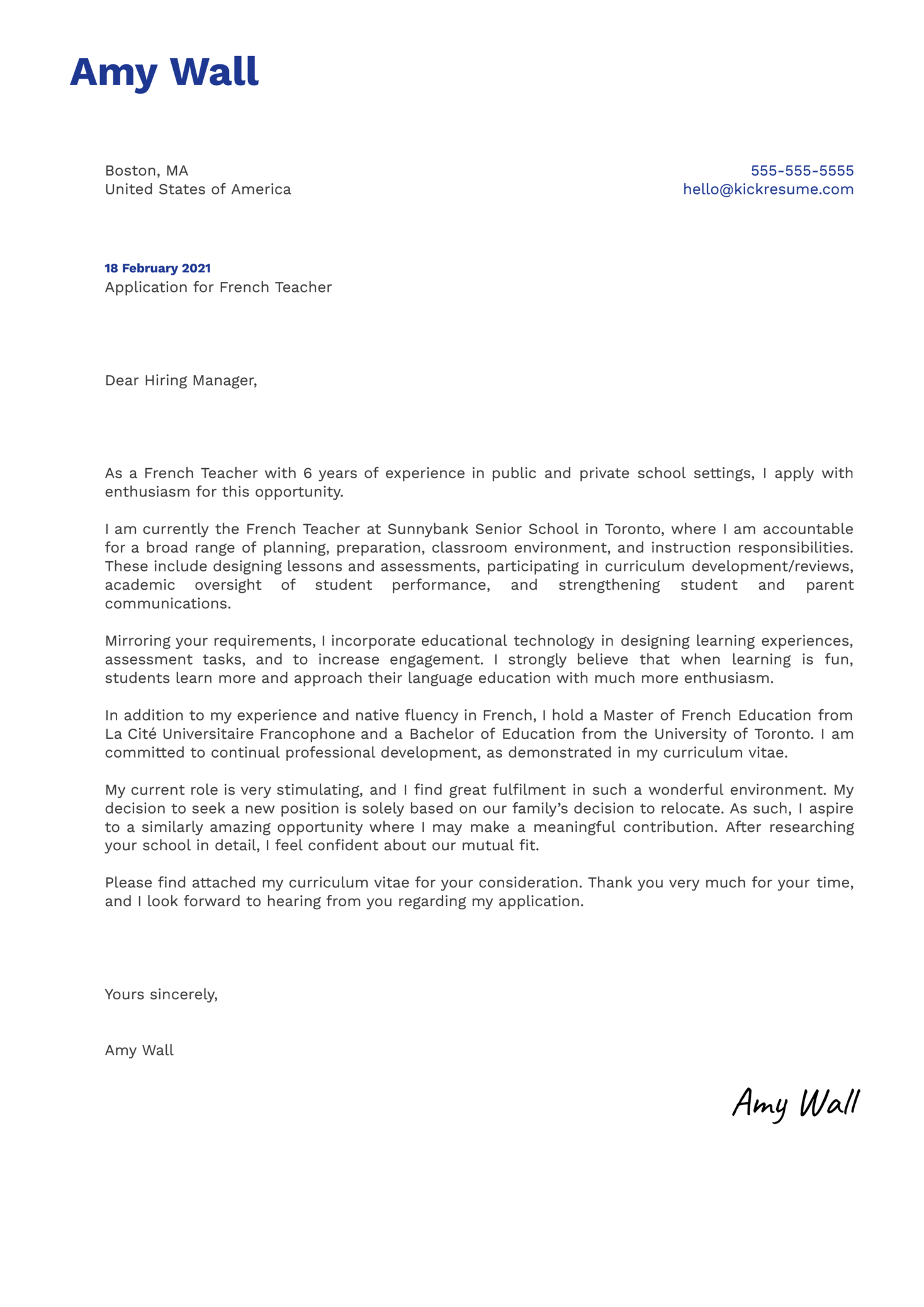 French Teacher Cover Letter Template