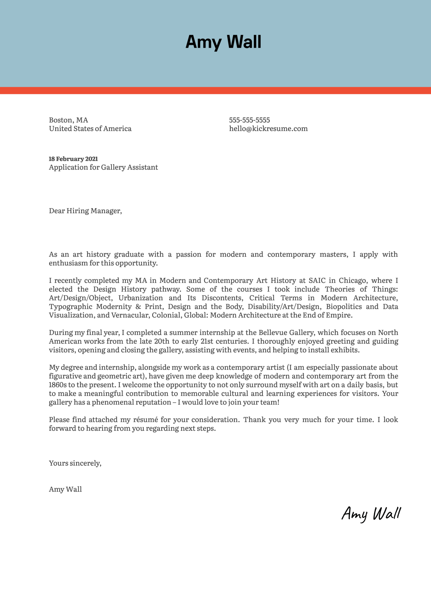 Gallery Assistant Cover Letter Sample