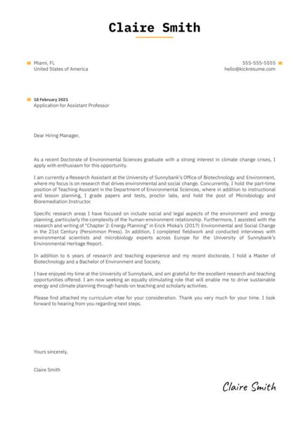 Assistant Professor Cover Letter Sample