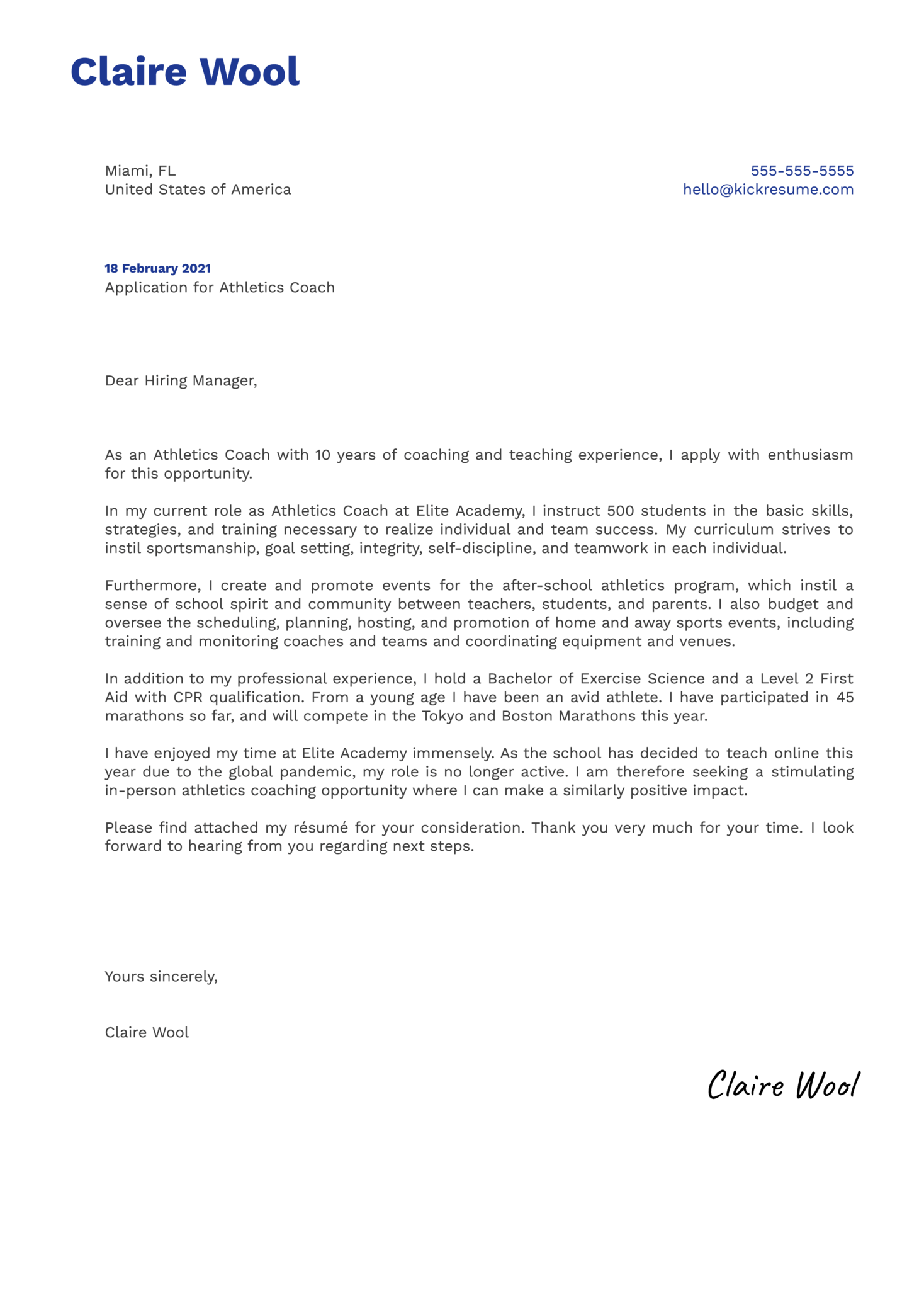 Athletics Coach Cover Letter Template